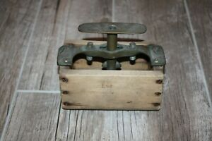 Vintage Wood Block Butter Press / Mold with Metal Handle