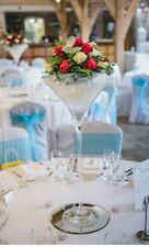 Large 70cm Martini Glass Vase Centrepiece and Round Mirror Plates - Hire Only