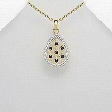Vermeil gold necklace with black sapphire and tiny white diamonds