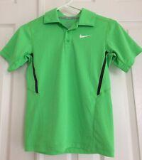NIKE Polo SHIRT Short Sleeve DRI-FIT Tennis/Golf Green Boys Size M 10-12 EUC