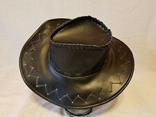 Outback Faux Black Leather Cowboy Western Hat