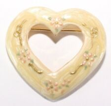 Yellow Pearlescent Enamel - Gold Tone Brooch Pin - Heart Love Valentine -