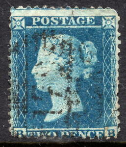 1854 - 1857 2d Penny Blue SG 34 Plate 5 Letters BB LC P14 Average Used