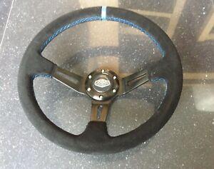Deep Dish 350mm Universal Steering Wheel Black Suede Blue Stitching OMP MOMO