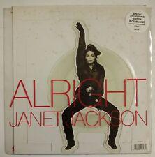 "Janet Jackson Alright Single 7"" UK 1990 Shape Fotodisco + pie cartón"