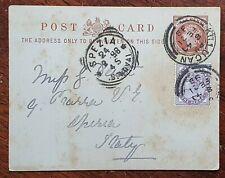 1898 Uprated Prepaid QV Postcard to Spezia, Italy