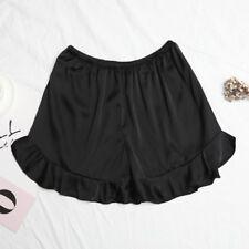 Women Satin Faux Silk Shorts Hot Pant Loose Ruffle Elastic Waist Homewear Casual