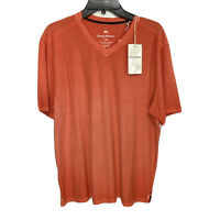Tommy Bahama Cirrus Coast V-Neck S/S Cotton Blend Stretch Large Mango Tango NWT