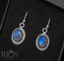 Stunning 925 Sterling Silver Moonstone Drop Dangle Oval Hook Earrings Gift Boxed
