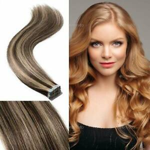 Tape In Keratin Straight 50g 100% Remy Human Hair Extension Deluxe Easy
