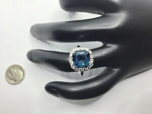 $5,970.00 14K White Gold 6.30 CTW London Blue Topaz And Diamonds Ring Size 7