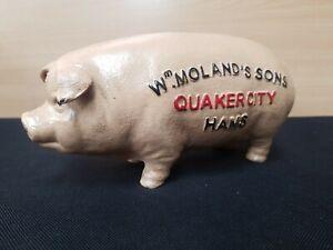 NEW ** VINTAGE STYLE **  CAST IRON FAT BUTCHER PIG MONEY BOX QUAKER CITY HAMS