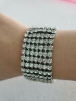 Rhinestone Tennis Bracelet 7 Rows Silver Tone Women's Fashion Jewelry