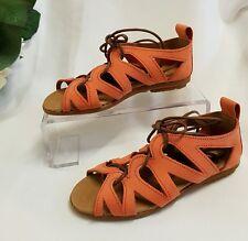enfants filles Chaussures Sandales CUIR VÉRITABLE fabriqué Italie Orange 32 7315