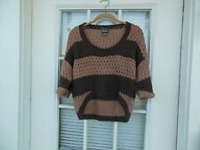 Women's Short Sleeve Striped Pullover Cropped Sweater Top Size M by DOTS Brown