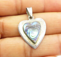 925 Sterling Silver - Vintage Abalone Shell Love Heart Drop Pendant - P8414