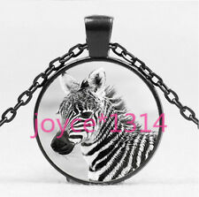 Vintage ZEBRA Cabochon Black Glass Chain Pendant Necklace HS-4548