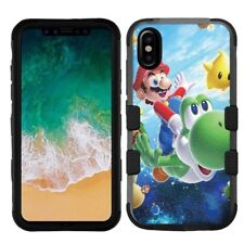 """for Apple iPhone XS (5.8""""), Hard+Rubber Rugged Case Mario Yoshi #F"""