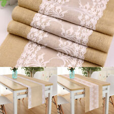 Vintage Rustic Burlap Hessian Lace Table Runner Wedding Banquet Party Decor