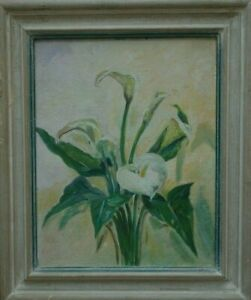 """Vintage Calla Lilies Framed Oil Paintings 10"""" x 8"""""""