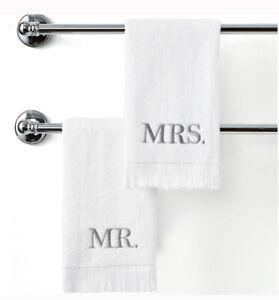 "Avanti Bath Towels Mr. & Mrs. 11"" X 18"" Matching Fingertip Towels Set Wedding"