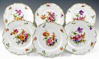 """Vintage Meissen Carl Teichert FLORAL & GOLD 7-3/8"""" DESSERT / PIE PLATES Set of 6"""