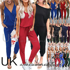 UK Womens Cold One Shoulder Jogging Jumpsuit Ladies Vest Romper Playsuit 6 - 16