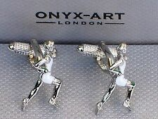 Athlete's Gift-Sprinters Silver/White Style METAL CUFF LINKS in a GIFT BOX-NEW