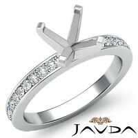 Asscher Semi Mount Pave Setting Diamond Women Wedding Ring Platinum 950 0.5Ct