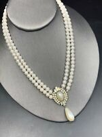 Vintage Estate Glass Rhinestone Pearl Drop Dangle Pendant Necklace Wedding  16""