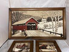 "Kay Dee LINEN Hand Prints Vintage NE Winter Scene - 33.5"" x 18.5"""