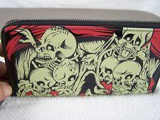 Folter Black Red Beige Skull Skeleton Zipper Wallet Wet Look Faux Leather