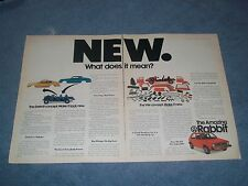 """1976 Volkswagen Rabbit Vintage 2pg Ad """"New. What Does it Mean?"""" VW"""