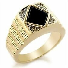 Onyx Yellow Gold Plated Signet Rings for Men