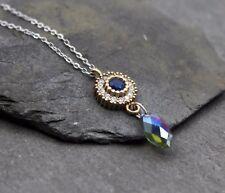 Halskette Kette 925 Sterling Silber Vintage Kristall synth Saphir Zirkonia Antik