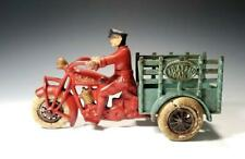 "1930's ORIGINAL 9"" Cast Iron HUBLEY ""INDIAN"" MOTORCYCLE TRAFFIC CAR~ SWIVEL HEAD"