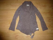 Odd Molly 528 Chunky Heather Brown Shawl Neck Tie Front Cardigan Size 0 XS UK 6