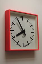 Vintage industrial 70s factory club-style clock PRAGOTRON,refurbished AA battery