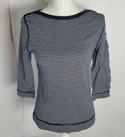 Ralph Lauren Cotton Striped Boat Neck Women's Top 3/4 Sleeve Blue and White PM