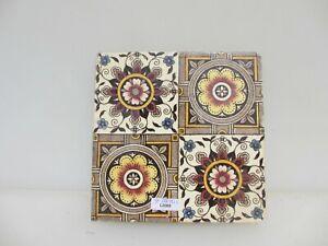 Antique Ceramic Tile Old Vintage Floral Flowers Leaf Art Nouveau