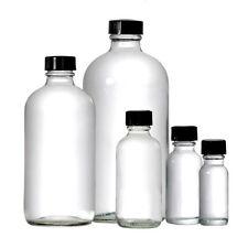 30ml (1 OZ) Boston Round Clear Glass bottle w Black Caps Set of 72 Pc