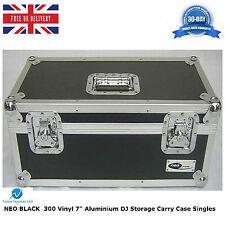 "1 X NEO BLACK Aluminium DJ Storage Carry Case Holds 300 Vinyl 7"" Singles Records"