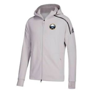 Buffalo Sabres NHL Adidas Men's Grey Primary Team Logo Z.N.E. Pulse Hoodie