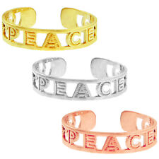 Letters Open Adjustable Toe Ring Solid Yellow White Rose Gold Peace