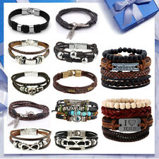 Men Ladies Unisex Real Genuine Leather Braided Bracelet Wristband Valentine Gift