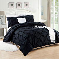 3 Piece Pintuck Quilt Duvet Cover Set Luxury Bed Throws Double King Size Bedding