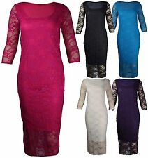 Women's 3/4 Sleeve Scoop Neck Lace Stretch, Bodycon Dresses