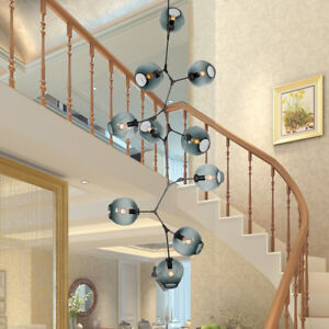 vertical Black/Gold Light Glass Bubble Chandelier Suspension Pendant Lamp