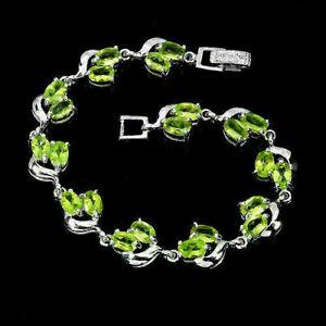 Bracelet Green Peridot Genuine Natural Gems Solid Sterling Silver 7 Inch