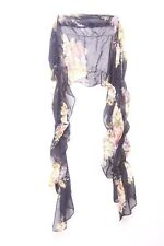 Navy Frill Design Floral Pattern Graphic Print Statement Scarf (S17)